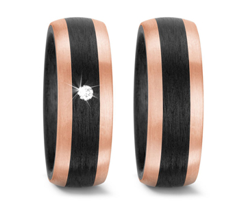 Carbon - Trauring 59319-N556  Rosegold / Carbon